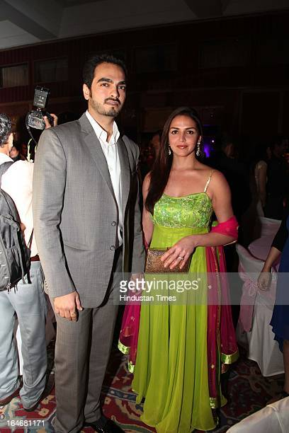 Esha Deol with husband Bharat Takhtani during Annaprashan ceremony of Subrata Roy's granddaughter Roshna on March 20 2013 in New Delhi India