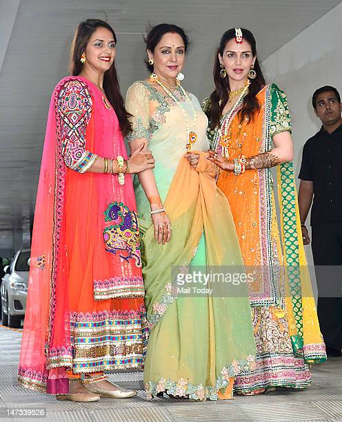 Esha Deol with sister Ahana and mother Hema Malini during her mehndi ceremony held at Royalty in Mumbai on June 27 2012