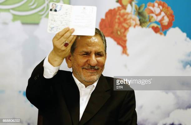 Eshaq Jahangiri Iran's first VicePresident registers his candidacy for the upcoming presidential elections at the ministry of interior in the capital...
