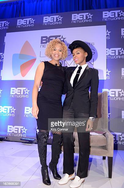Esi Eggleston Bracey and Janelle Monae speak during the Leading Women Defined Dorothy Height Luncheon at Ritz Carlton Hotel on February 28 2013 in...