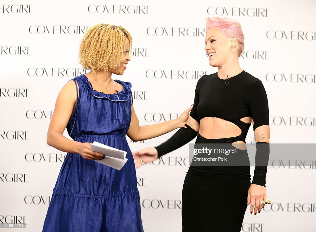 Esi Eggleston Bracey, General Manager of COVERGIRL Cosmetics and P!nk, announce P!nk as the newest face of COVERGIRL Cosmetics at Shutters on the Beach on August 6, 2012 in Santa Monica, California.