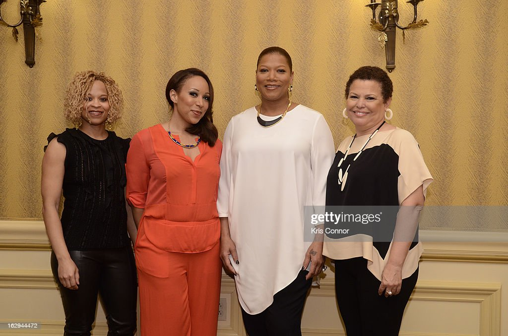 Esi Eggleston Bracey, Mara Schiavocampo, <a gi-track='captionPersonalityLinkClicked' href=/galleries/search?phrase=Queen+Latifah&family=editorial&specificpeople=171793 ng-click='$event.stopPropagation()'>Queen Latifah</a> and Debra Lee pose for a photo during the Leading Women Defined: Girl's Night Out at Ritz Carlton Hotel on March 1, 2013 in Washington, DC.