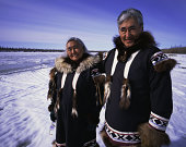 Eskimos in traditional clothing