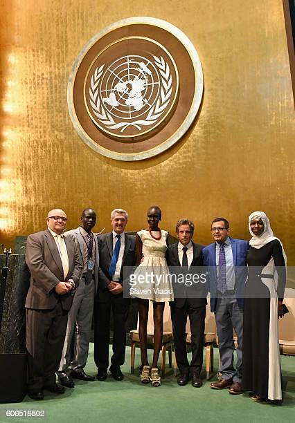 Esmail Dezhbod Yiech Pur Biel Filippo Grandi Alek Wek Ben Stiller Tika Acharya and Emi Mahmoud attend UNHCR #WithRefugees petition handover at UN...