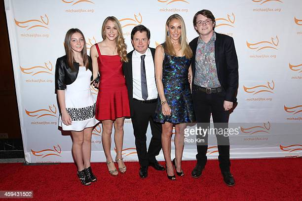 Esme Fox Aquinnah Fox Michael J Fox Tracy Pollan and Sam Michael Fox attend '2014 A Funny Thing Happened On The Way To Cure Parkinson's' event at The...