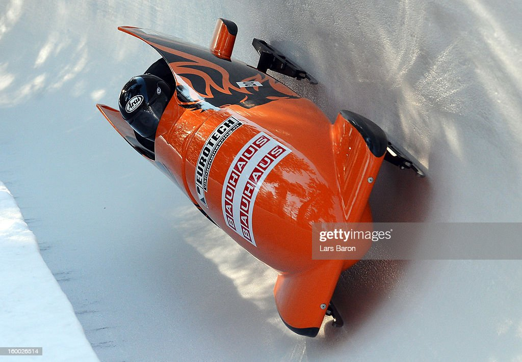 Esme Kamphuis and Judith Vis of Netherlands compete during the Women's Bobsleigh heat 1 of the IBSF Bob & Skeleton World Championship at Olympia Bob Run on January 25, 2013 in St Moritz, Switzerland.