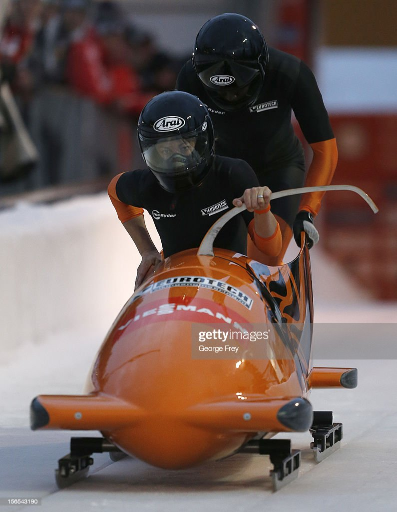 Esme Kamphuis (F) and Judith Vis of the Netherlands finish in seventh place in the FIBT women's bobsled world cup, on November 16, 2012 at Utah Olympic Park in Park City, Utah.
