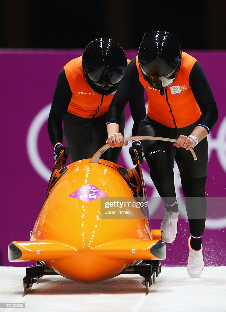 Esme Kamphuis and Judith Vis of the Netherlands team 1 make a run during the Women's Bobsleigh heats on day 11 of the Sochi 2014 Winter Olympics at Sliding Center Sanki on February 18, 2014 in Sochi, Russia.