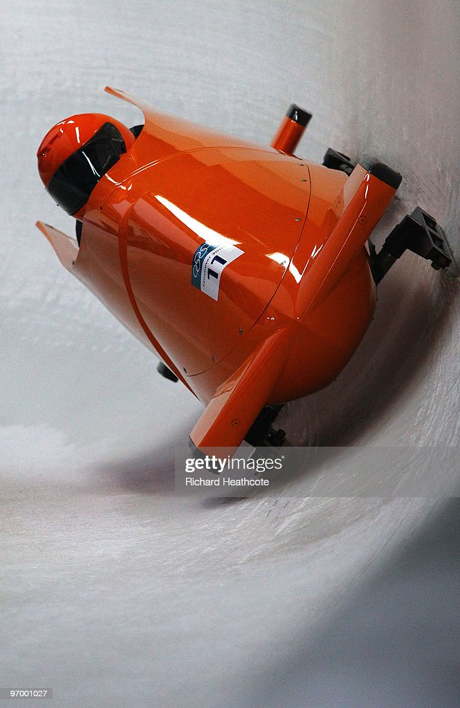 Esme Kamphuis and Tine Veenstra of Netherlands compete in Netherlands 1 during the Women's Bobsleigh Heat 1 on day 12 of the 2010 Vancouver Winter Olympics at the Whistler Sliding Centre on February 23, 2010 in Whistler, Canada.