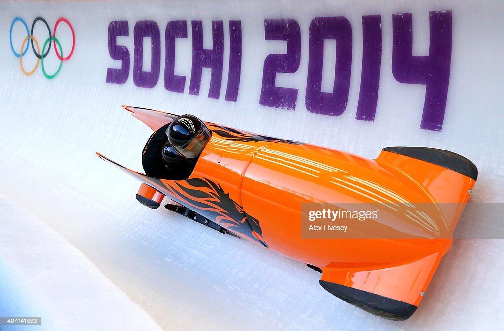 Esme Kamphuis of Netherlands pilots a bobsleigh practice run ahead of the Sochi 2014 Winter Olympics at the Sanki Sliding Center on February 6, 2014 in Sochi, Russia.