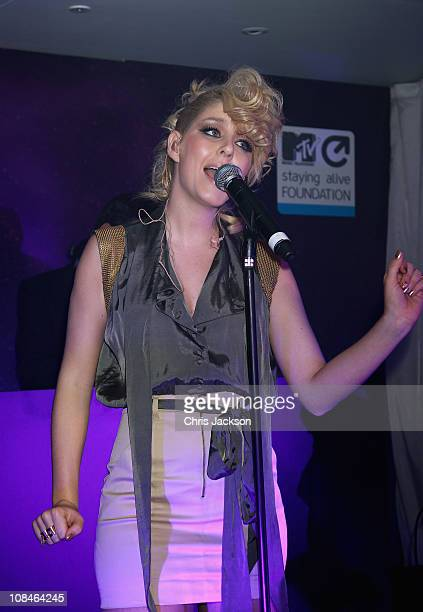 Esmee Denters performs at the MTV Staying Alive Fundraising and farewell event to celebrate the achievements of Bill Roedy Chairman and Chief...