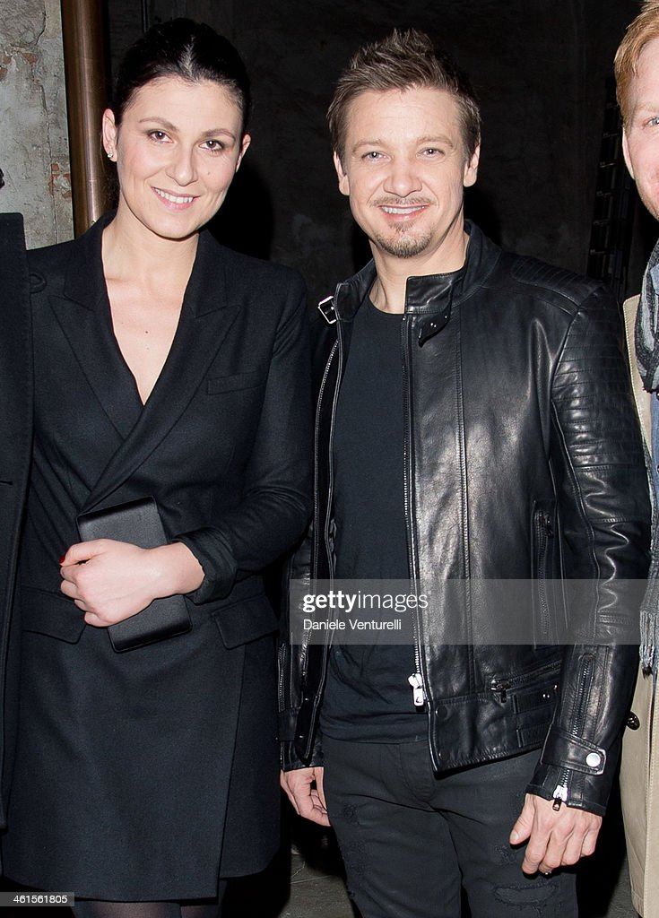 Esmeralda Brajovic and Actor Jeremy Renner attends Diesel Black Gold during the Pitti Immagine Uomo 85 on January 8, 2014 in Florence, Italy.