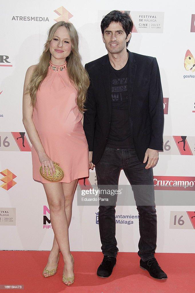 Esmeralda Moya and husband Carlos Garcia attend Malaga Film Festival party photocall at MOMA 56 disco on April 9, 2013 in Madrid, Spain.