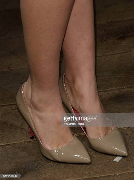 Esmeralda Moya attends 'La Cristalizacion De La Rosa Blanca' party photocall at Adolfo Dominguez store on November 27 2013 in Madrid Spain