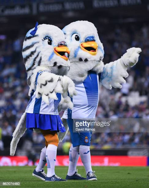 Espanyol mascots perform during the La Liga match between Espanyol and Levante at CornellaEl Prat stadium on October 13 2017 in Barcelona Spain