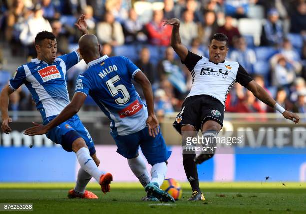 Espanyol's Brazilian defender Naldo vies with Valencia's Colombian defender Jeison Murillo during the Spanish league football match RCD Espanyol vs...