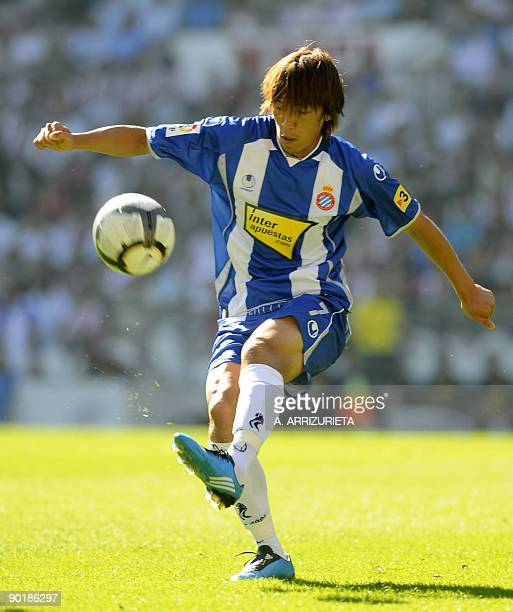 Espanyol's Japanese player Shunsuke Nakamura shots the ball during a Spanish league football match against Athletic de Bilbao on August 30 at the San...