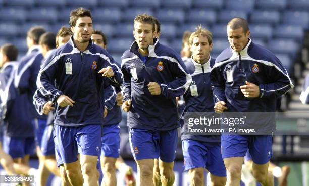 Espanyol's Juan Velasco Luis Garcia Pablo Zabaleta Walter Pandiani during a training session at Hampden Park Glasgow