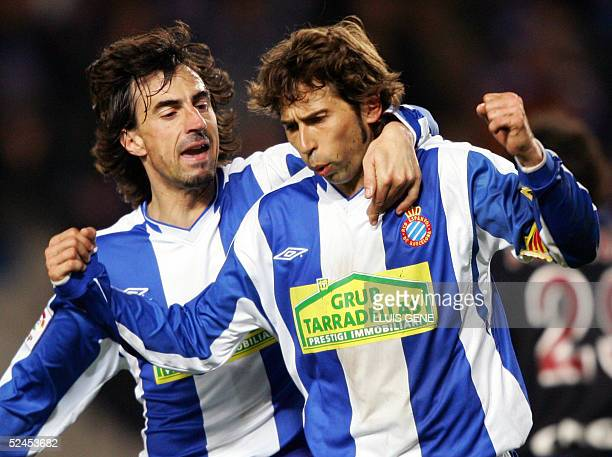 Espanyol's Raul Tamudo and Amavisca celebrate their first goal against Real Sociedad's during their Spanish League football match at the Olympic...