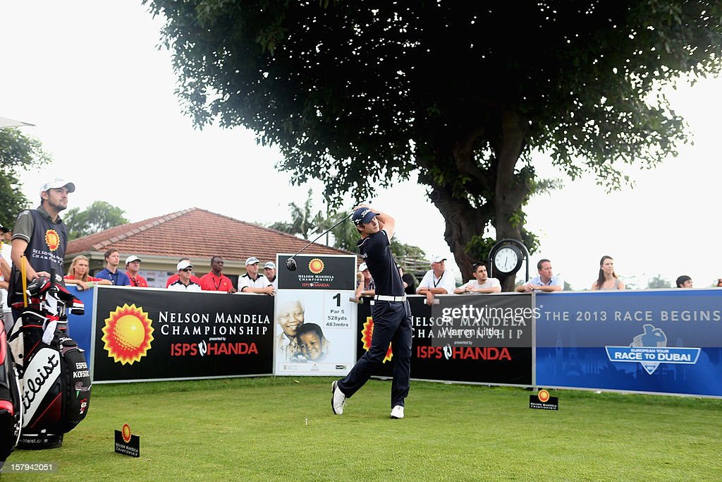 Espen Kofstad of Norway tees off on the first hole to start the 2013 Race To Dubai during first round of The Nelson Mandela Championship presented by ISPS Handa at Royal Durban Golf Club on December 8, 2012 in Durban, South Africa.