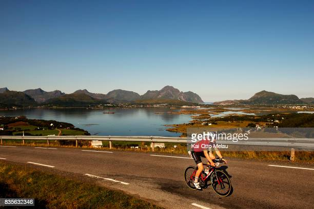 Espen Simonstad on the bikeleg of The Arctic Triple // Lofoten Triathlon Extreme distance on August 19 2017 in Svolvar Norway Lofoten Triathlon is...