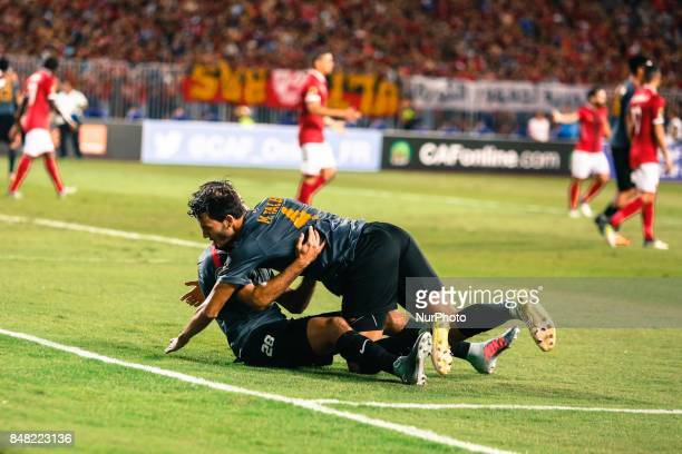 Esperance Players celebrates first goal during the CAF Champions League quarterfinal firstleg football match between Egypt's AlAhly and Tunisia's...