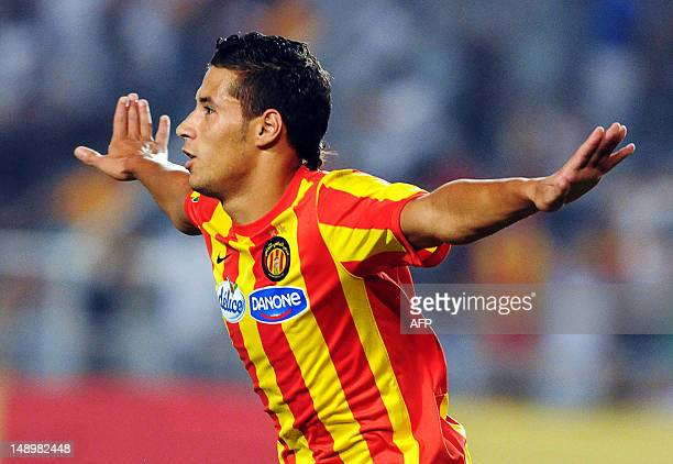 Esperance's striker Youssef Blaili celebrates after scoring during the CAF Champions League group A football match between Esperance Tunis and ASO...