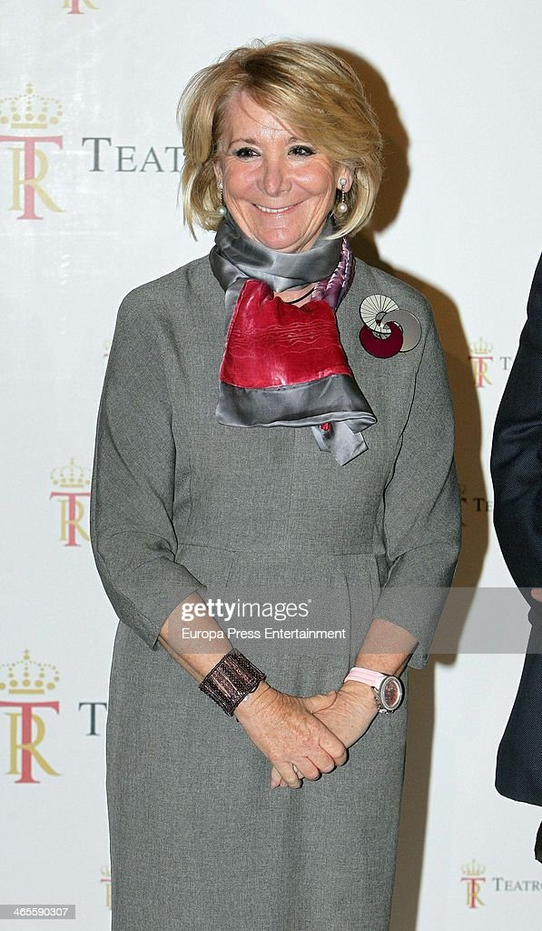 Esperanz Aguirre attends 'Tristan And Isolda' opera at the Royal Theatre on January 27, 2014 in Madrid, Spain.