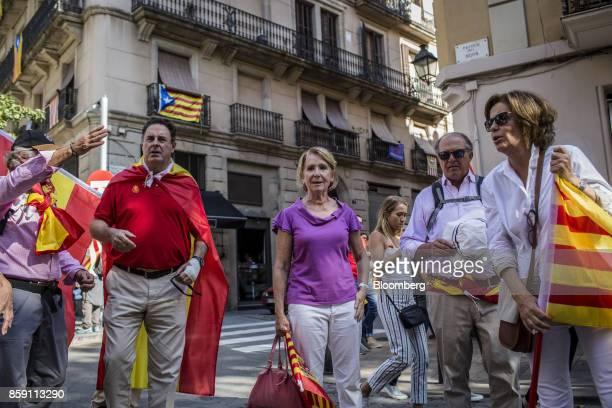 Esperanza Aguirre president of the Partido Popular center stands during a protest for Spanish unity on the Marqus de la Argentera Avenue in Barcelona...