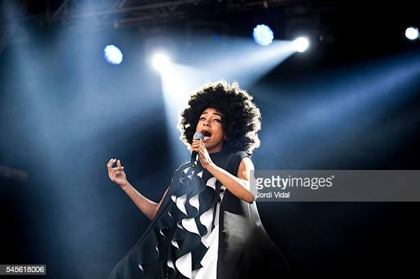 Esperanza Spalding performs on stage during Day 1 of Cruilla Festival at Parc del Forum on July 8 2016 in Barcelona Spain