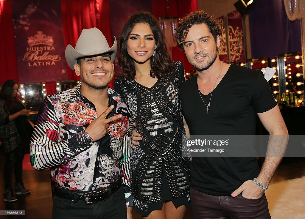 Espinoza Paz, Alejandra Espinoza and <a gi-track='captionPersonalityLinkClicked' href=/galleries/search?phrase=David+Bisbal&family=editorial&specificpeople=206469 ng-click='$event.stopPropagation()'>David Bisbal</a> are seen attending the premiere show of Univision's Nuestra Belleza Latina at Univision Headquarters on March 2, 2014 in Miami, Florida.