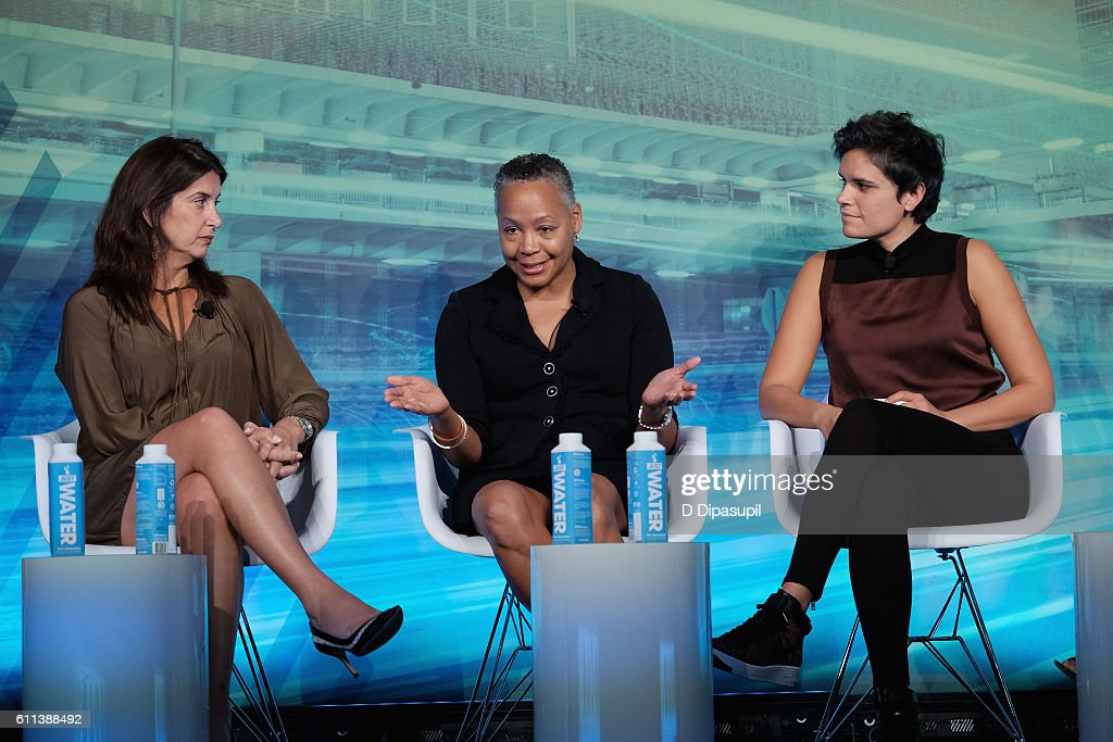 SVP, espnW and Women's Initiatives espnW Laura Gentile, President WNBA Lisa Borders and Sports Reporter ESPN Kate Fagan speak at the Why Are We Still Talking About This? Women & Sport in 2016 panel at Liberty Theater during 2016 Advertising Week New York on September 29, 2016 in New York City.