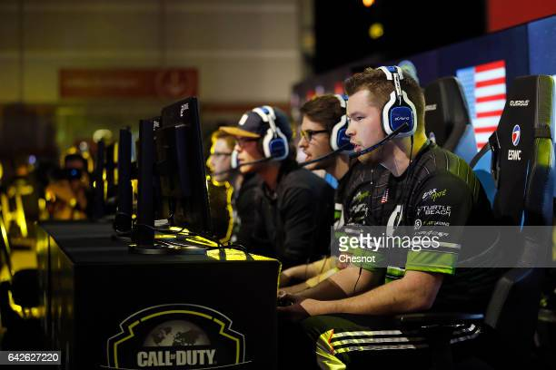 Sports player Ian Porter gamertag 'Crimsix' of the OpTic Gaming's team competes a video game 'Call of Duty' developed by Infinity Ward and published...