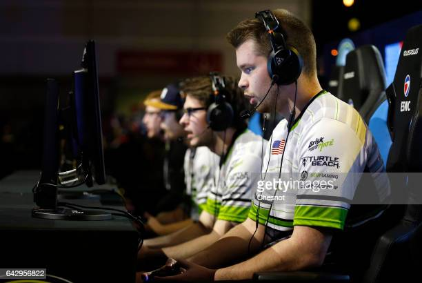 Sports player Ian Porter gamertag 'Crimsix' of the OpTic Gaming's team competes during the final of the video game 'Call of Duty' developed by...