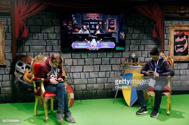 Sports players compete a video game 'Clash Royale' developed and published by Supercell during an electronic video game tournament at the eSports...