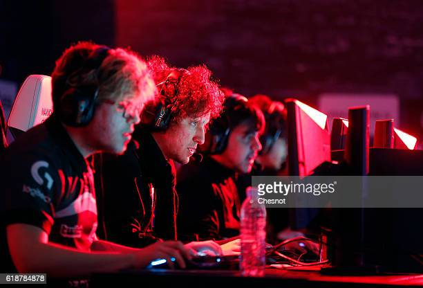 Sports players compete a video game 'League of Legends' developed by Riot Games during an electronic video game tournament at the 'Paris Games Week'...