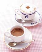 Espresso and Cappuccino, High Angle View