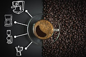 espresso in a glass on wooden table, black coffee and coffee maker icon, americano, coffee cup.