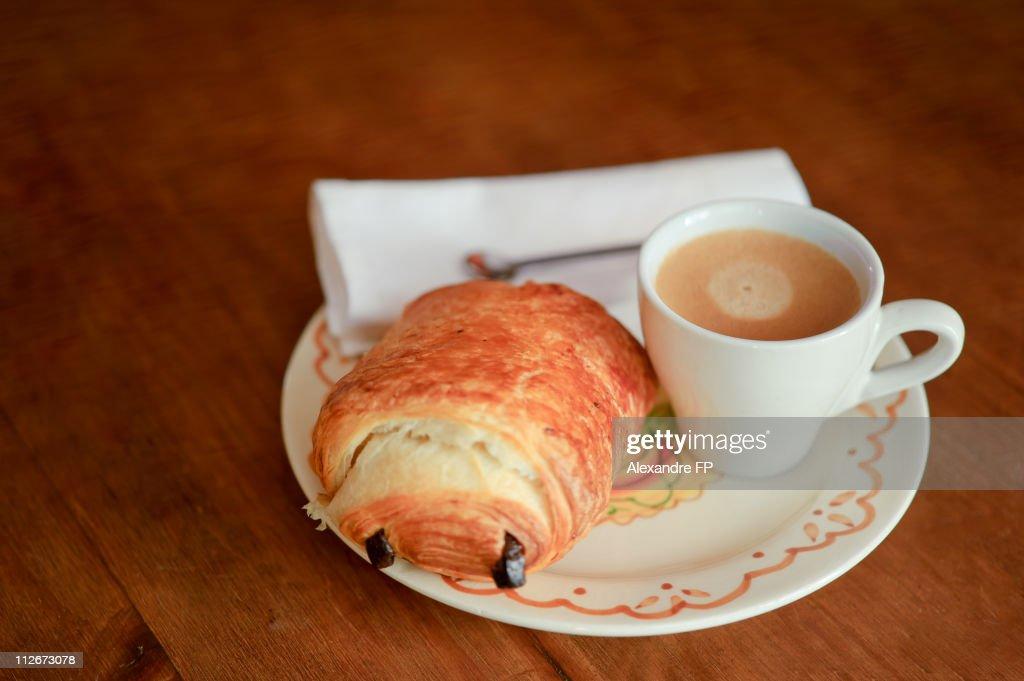 Espresso and pain au chocolat
