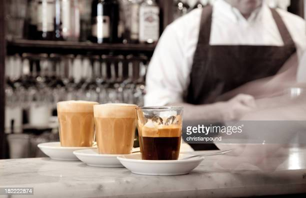 Espresso coffee being served