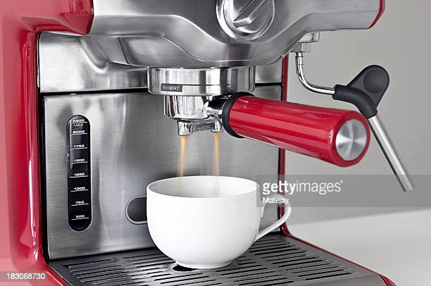 Espresso coffee machine in use