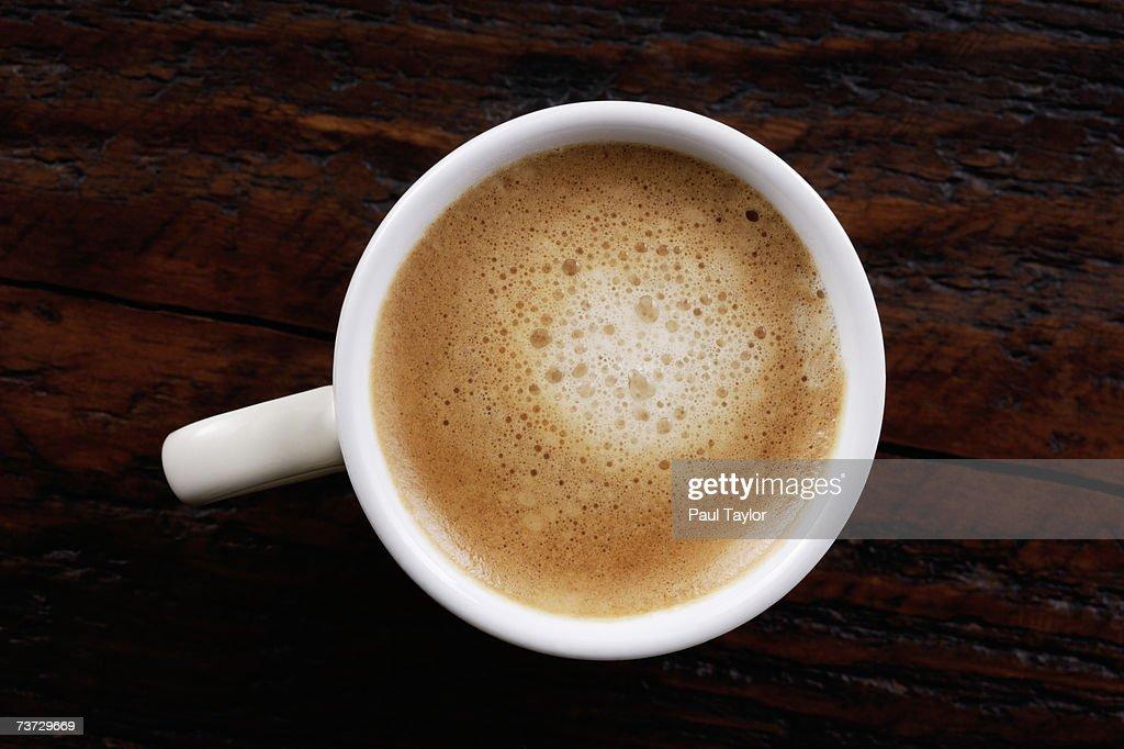 'Espresso coffee on table, overhead view' : Stock Photo