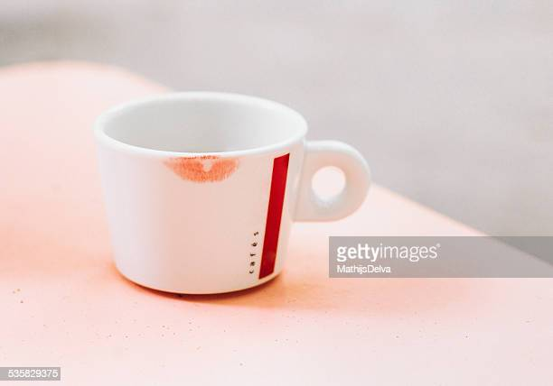Clear Glass Cup With Lipstick Marks
