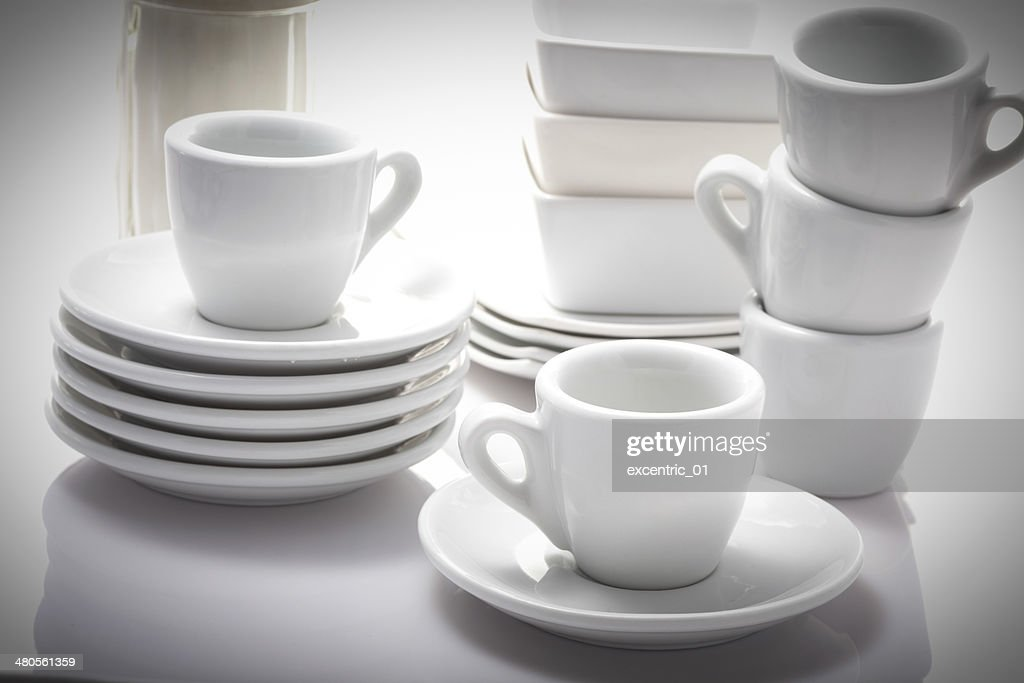 espresso cups and saucers isolated on a white background : Stock Photo