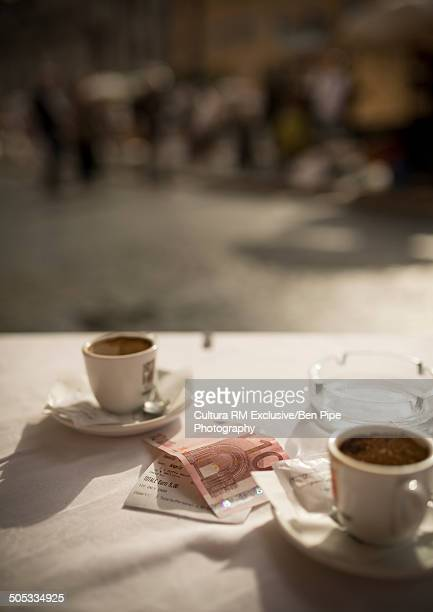 Espresso cups on table