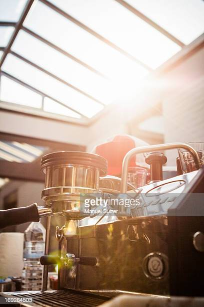 Espresso machine in coffee shop