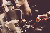 Color image of an espresso making machine.