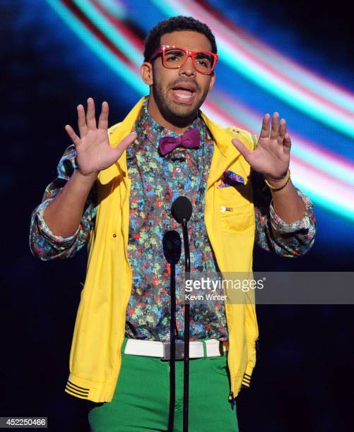 ESPYs host Drake onstage during the 2014 ESPYS at Nokia Theatre LA Live on July 16 2014 in Los Angeles California