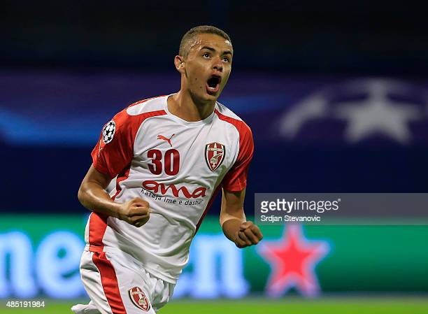 Esquerdinha of KF Skenderbeu celebrates scoring their first goal during the UEFA Champions League Qualifying Round Play Off Second Leg match between...