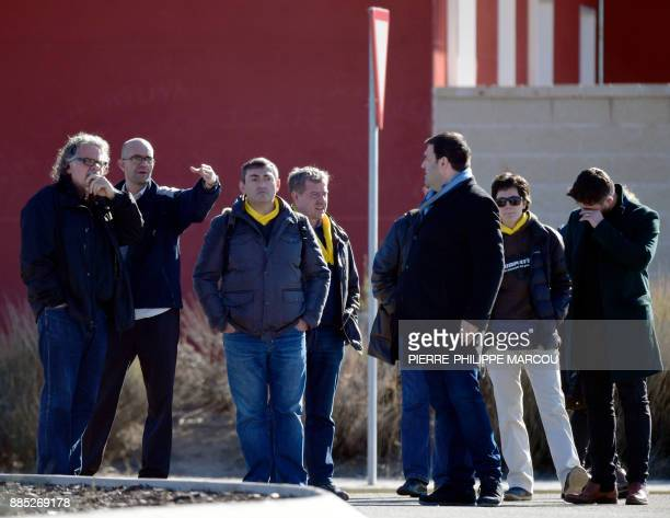Esquerra Republicana de Catalunya ERC member of parliament Joan Tarda and MP Gabriel Rufian wait for the release of some Catalan former ministers...